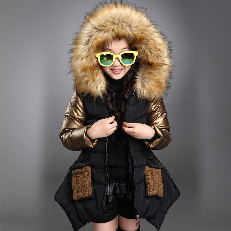 Retail New Girls Baby warm Coats Girls Jackets For Spring Autumn Fur collar fashion Medium and long section Kids Coats