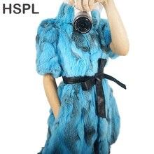 HSPL натуральный меховой жилет для женщин Новое поступление дешевая шуба из кроличьего меха Весна натуральный жилет из кролика Зимний casaco feminino