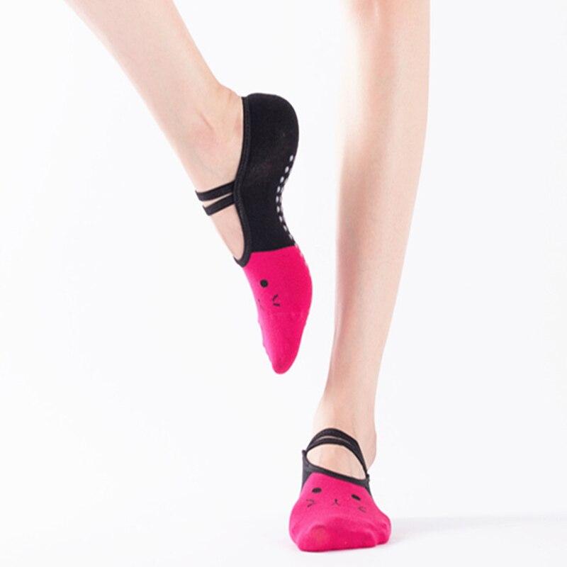 New Kitty Women Yoga Sport Socks Female Gym Fitness Pilates Crossfit Anti Slip Socks Ballet Dance Backless Strap Socks Silicone