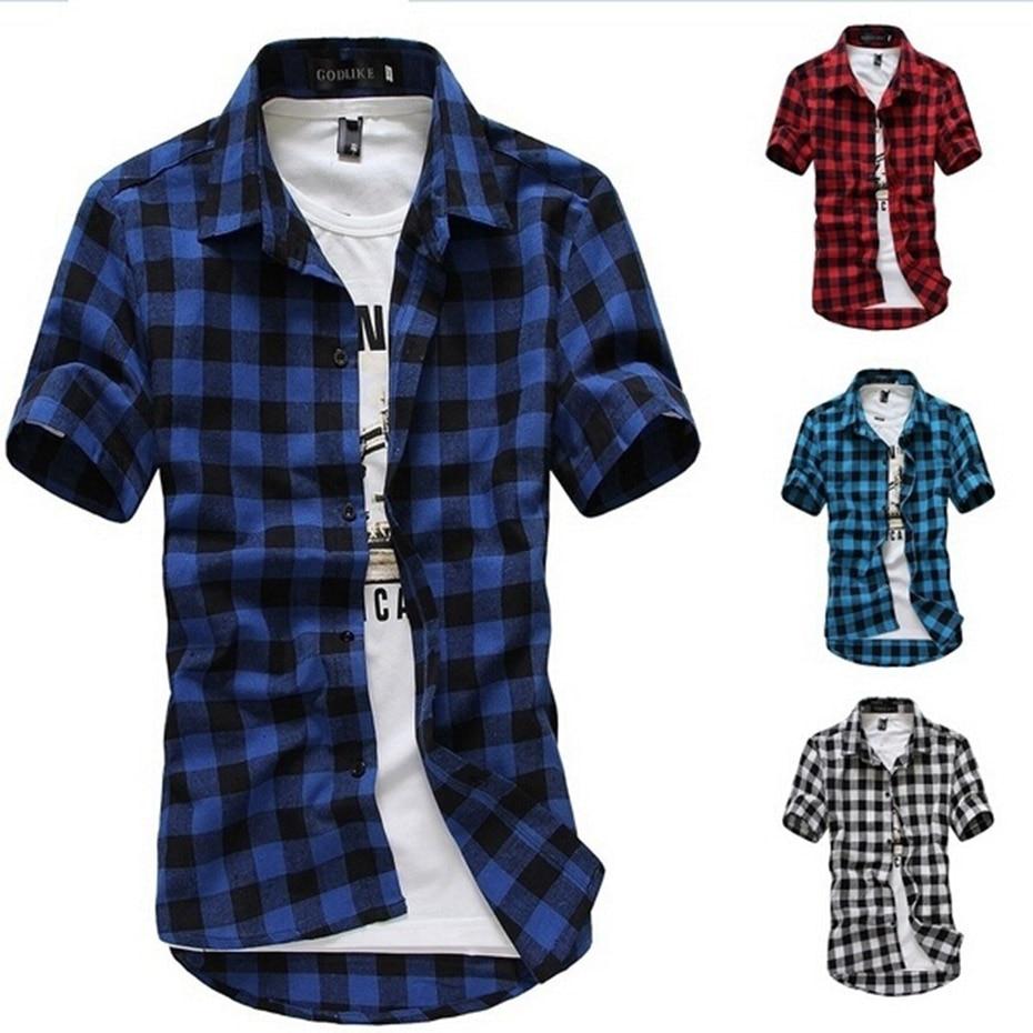 ärmeln Männer Tops Chinesische Aromen Besitzen Zogaa 2019 Marke Shirts Männer Casual Slim Fit Kurzarm Männer Sommer Tops Männer Plaid Shirt Kleid Shirts Kurze Füsslinge