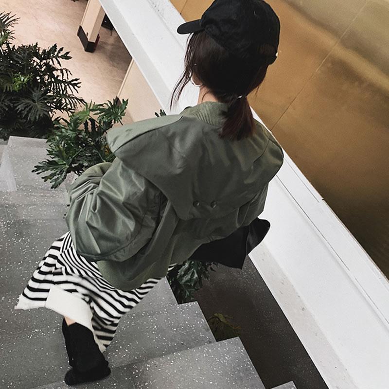 Mode Femmes D'hiver De see Solide Picture Parka Unique Casual 2018 Corée Black Manches Poitrine Lâche hg Couleur Pleine Nouvelles Femelle Wbb1026 Manteau Wbb1026 WEIf1q