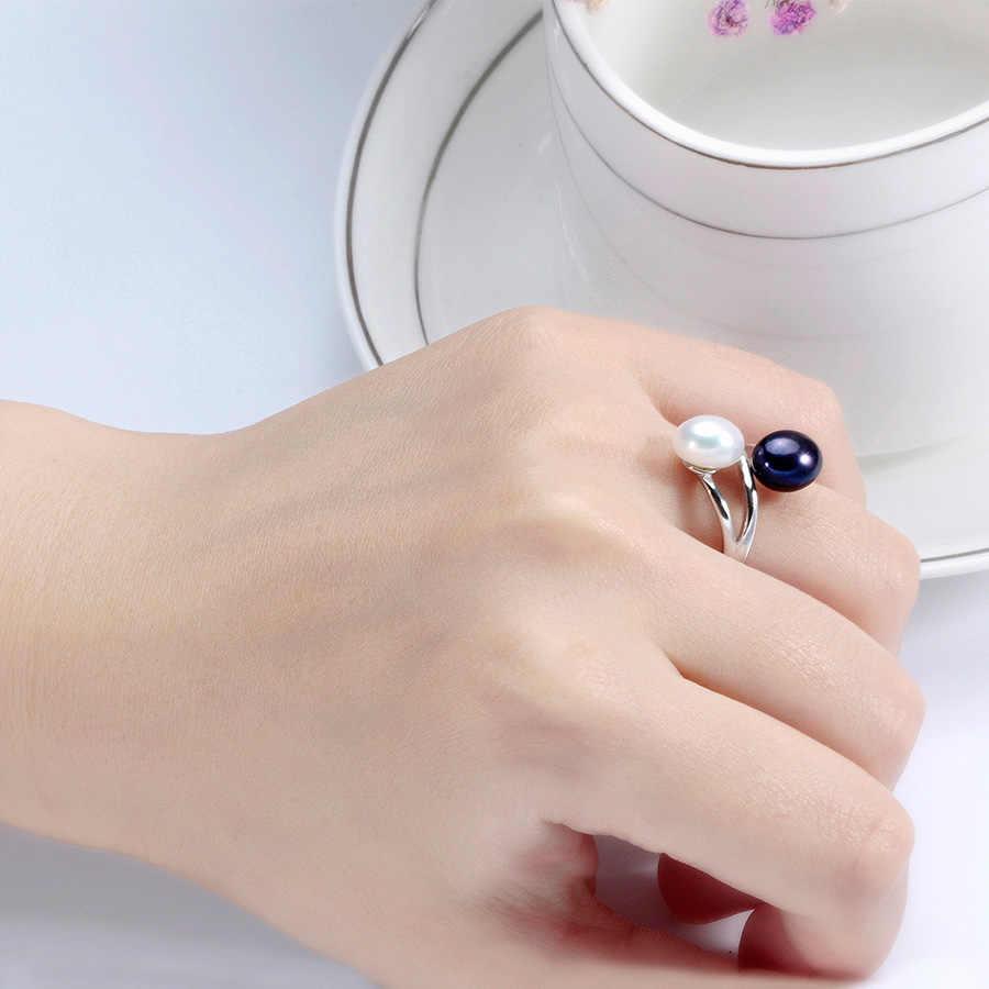 Thời trang Rắn S925 Sterling Silver Rings Đối Với Phụ Nữ Thanh Lịch Độ Bóng Cao 5A Vòng Ngọc Trai Tự Nhiên Đôi Trang Sức Ngọc Trai 8- 9 mét Lindo