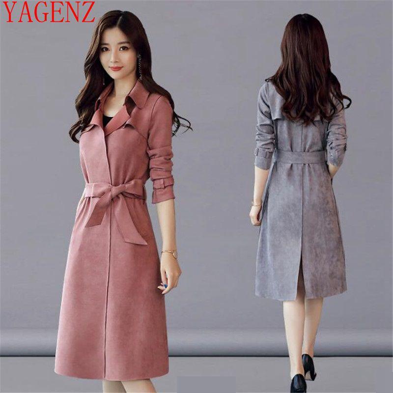 Manteau Printemps Daim Automne gray Vêtements Corée Nouveau Coupe Plus vent Pour De Taille 1395 Manteaux La Femmes Élégant Trench Pink Femme En Slim Peau wq7AIPW0