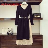 ALPHALMODA OL Elegant Sweater Dress 2pcs Set Pullover Loose Long sleeved Knit Dress with Stylish Side Slit Buttons + Lace Dress