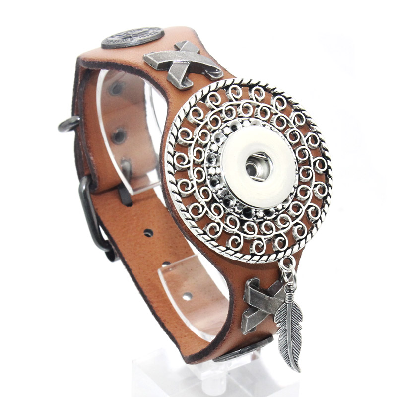 25CM Adjustable Snap Bracelet Vintage Metal Leather Bracelet Fit 18mm Snap Button Bracelet