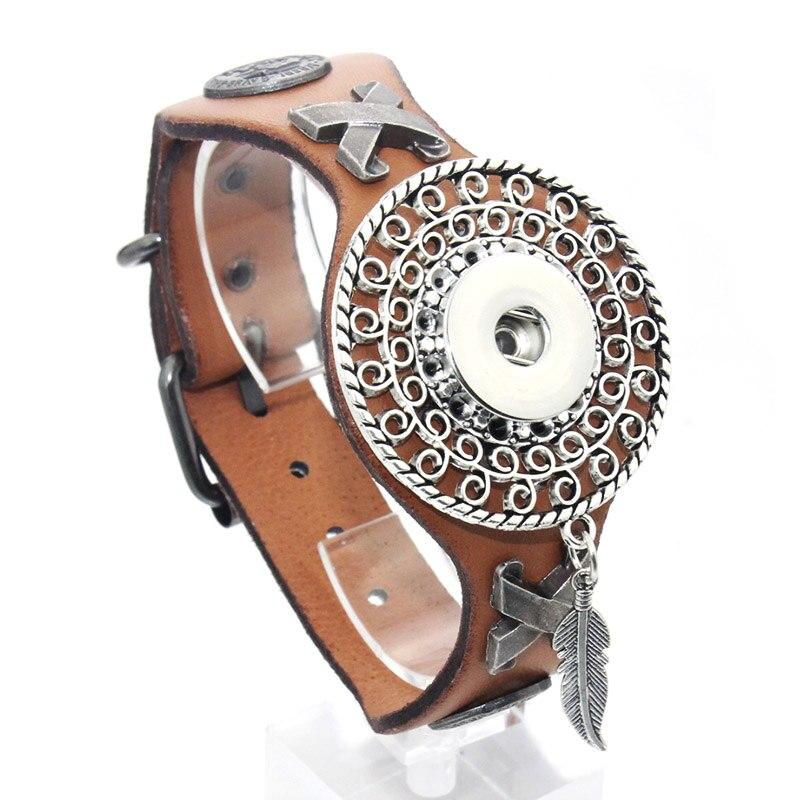 25CM Adjustable Snap Bracelet Vintage Metal Leather Bracelet Fit 18mm Snap Button Bracelet For Men Jewelry Watch Belt 9420