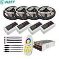 5-20 m RGB/W Led tira 5050 IP20/IP65 DC12V 4 colores en 1 Chip led + regulador alejado + fuente de alimentación Kit