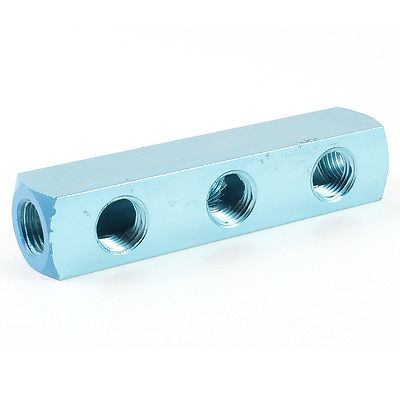 1/4 PT Threaded Ports 3 Ways Quick Connect Air Hose Manifold Block Splitter air compressor 1 2bsp 2 way hose pipe inline manifold block splitter teal blue
