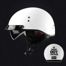 Adult white  vintage Open Face Half Helmet Harley Moto Motorcycle Helmets Motorbike Vespa with dark lens