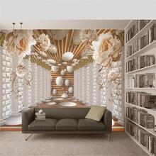 beibehang Custom wallpaper Peony true flower Roman column European style 3D