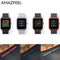 AMAZFEEL 20mm Leather Wristband For Original Xiaomi Huami Amazfit Bip BIT PACE Smart Watch Band Bracelet