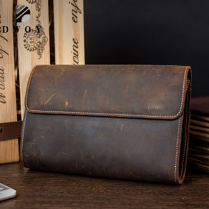 DWOY Genuine Leather Men Wallets Crazy Horse Wallets Man Clutch Bag Phone Card Holder Male Purse Men Leather Wallet Purse