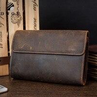 DWOY Genuine Leather Men Wallets Crazy Horse Wallets Man Clutch Bag Phone Card Holder Male Purse Men Leather Wallet Purse