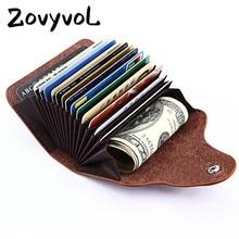 ZOVYVOL 2019 Men And Women Genuine Leather Unisex Business Card Holder Wallet Bank Credit Card Case ID Holders Women Purse цена в Москве и Питере