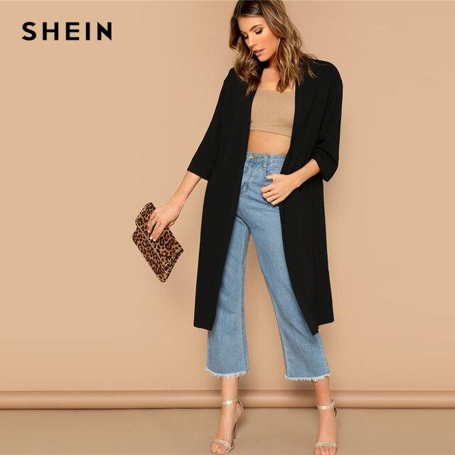 1d985cad4b SHEIN Black Open Front Split Back Plain Solid Longline Kimono Cardigan Women  Three Quarter Length Sleeve