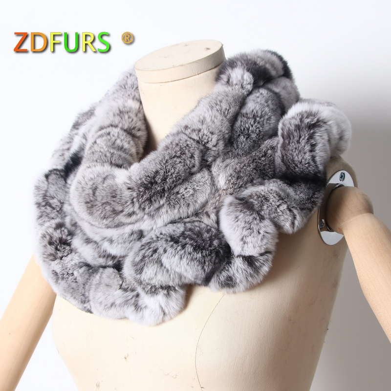 ZDFURS* 2018 New Women Rex Rabbit Fur Scarves Rings Winter Warm Fur Scarf Wraps Snood High Quality Natural Fur Solid Fashion