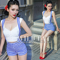 FREE SHIPPING Wild cat limited pin up sweet all-match blue white plaid slim high waist hip bib pants