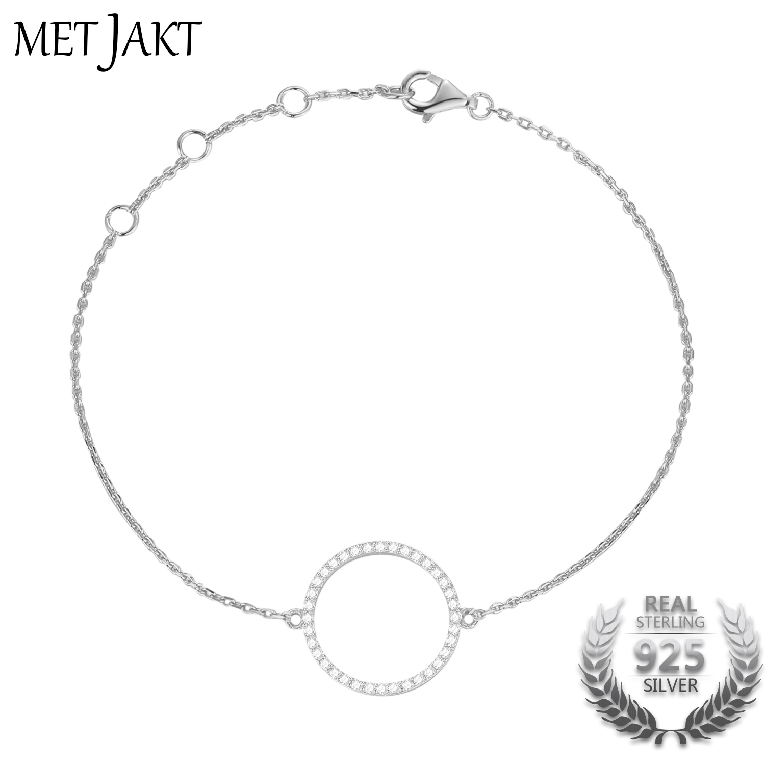 MetJakt 14k Rose Gold Color 925 Sterling Silver Hollow Out Circle Charm Bracelet with AAA+ Cubic Zirconia for Women Fine JewelryMetJakt 14k Rose Gold Color 925 Sterling Silver Hollow Out Circle Charm Bracelet with AAA+ Cubic Zirconia for Women Fine Jewelry