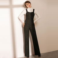 Jumpsuits Women Rompers 85% Wool Blended Vintage Style Wide Leg Zipper Tassel Pockets Classic Design Ladies New Fashion 2018