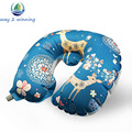High Quality TPU Travel Pillow Portable Inflatable U Shape Pillow Cartoon Printed Flocking Neck Cushion Flight Inflated Toys
