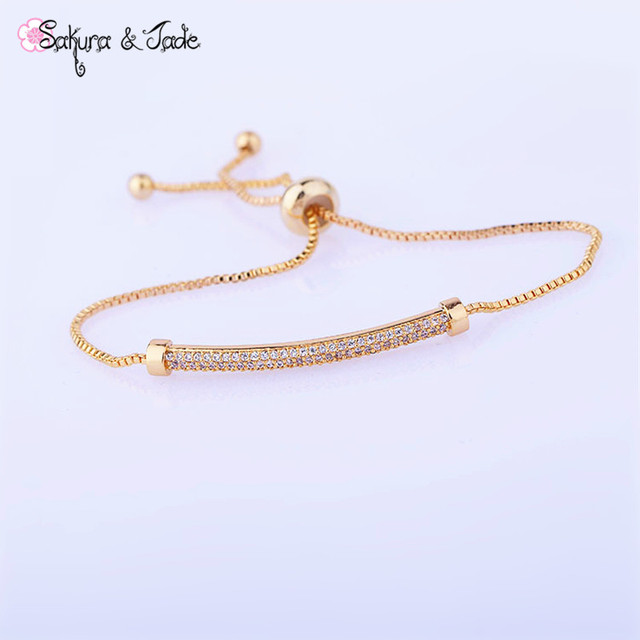 New Fashion gold bracelets love rose gold 585 jewelry crystal girl friend  gift adjustable tom hope