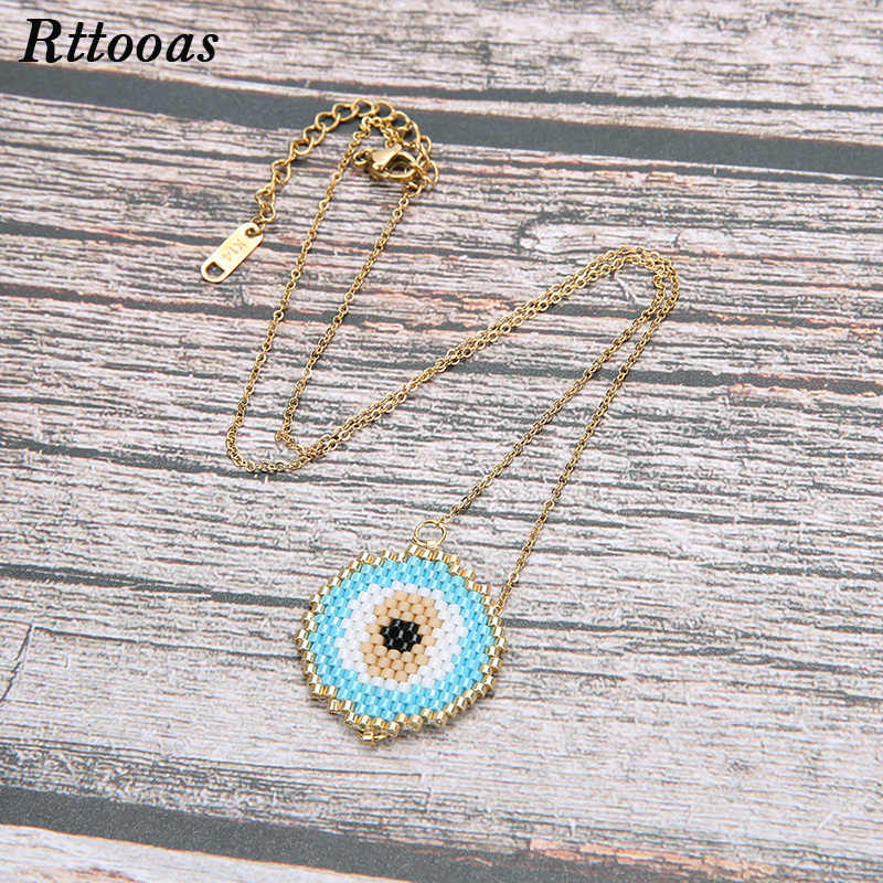 Rttooas Simple Evil Eye Pendant Necklace Women MIYUKI Beads Handmade Choker Necklaces Fashion Summer Style