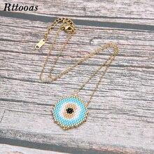 Rttooas Simple Evil Eye Pendant Necklace Women MIYUKI Beads Handmade Choker Necklaces Fashion Summer Style