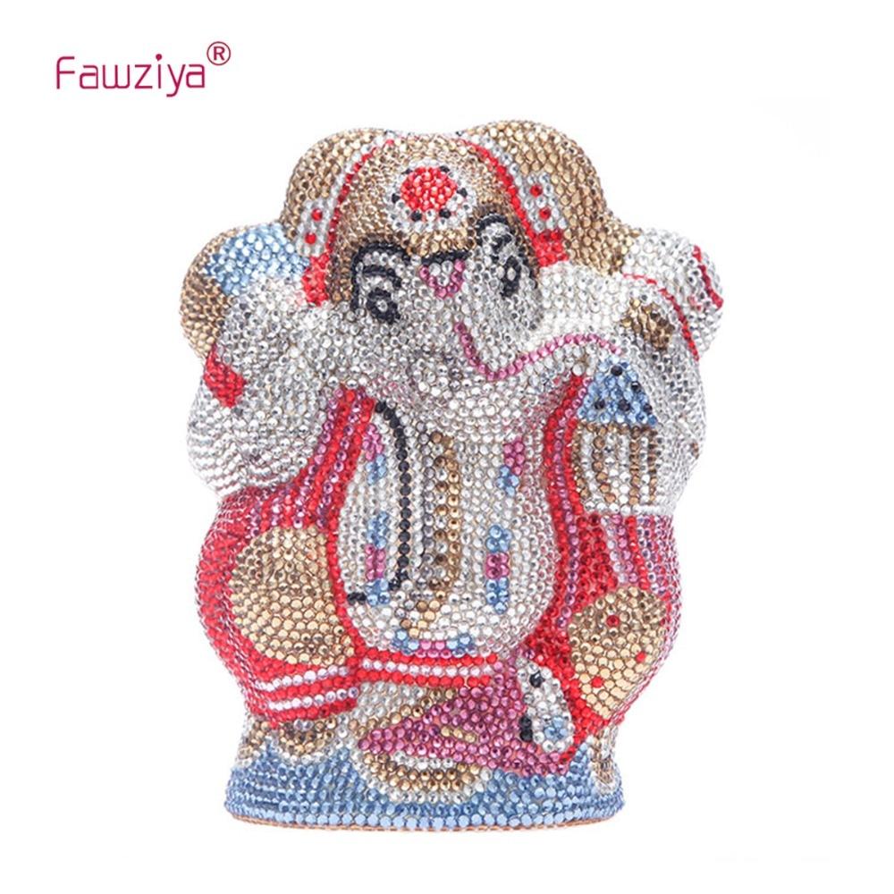 Fawziya Bling Elephant Purses For Women Box Clutch Evening Bags fawziya apple clutch purses for women rhinestone clutch evening bag
