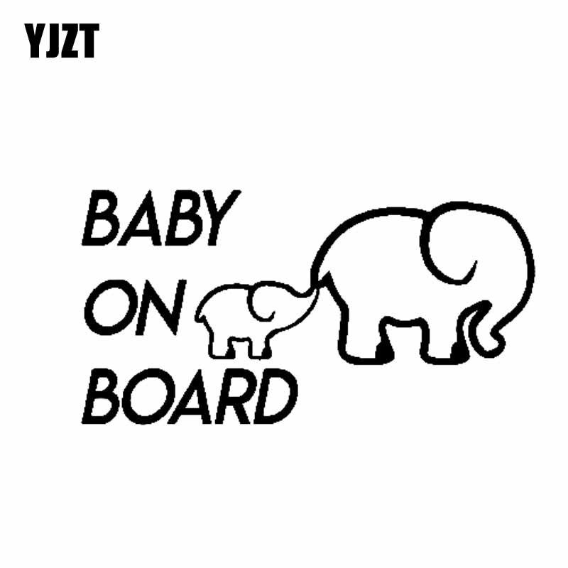 Yjzt 14cm7 4cm Baby On Board Elephant Vinyl Decal Car Sticker