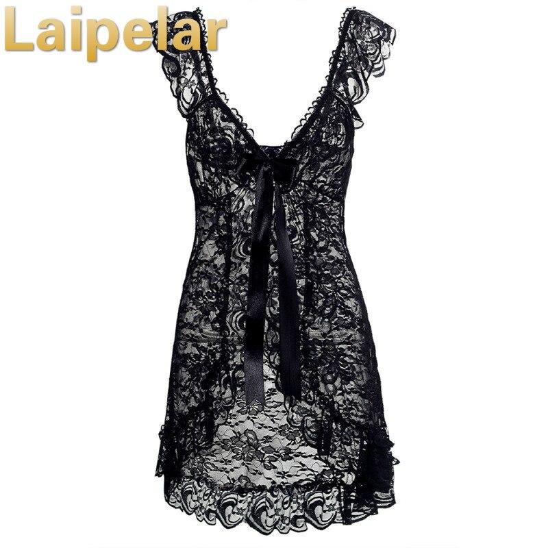 Laipelar Women Sexy Lace Cardigan Dress Sleepwear Nightgown G String Bodydoll Underwear Sleepwear Nightgowns Dresses in Dresses from Women 39 s Clothing