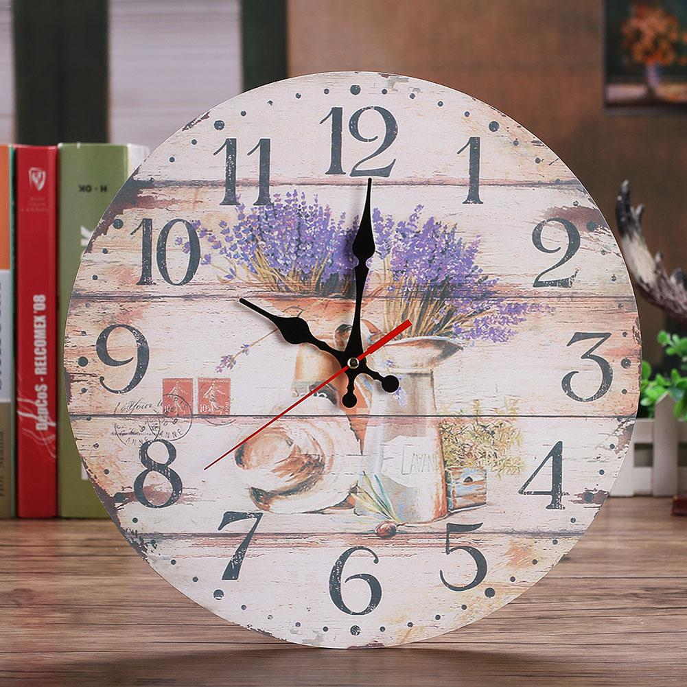 30CM Retro European Wall Clocks Round Bedroom Living Room Digital Dial Mute Metal Wall Clock Home Decoration
