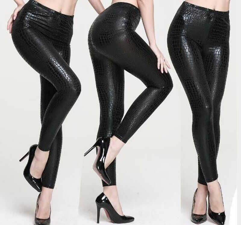 6983e51287547 High Quality Sexy Snake-Skin Faux Leather Leggings Women Punk Gothic Pants  Sexy PVC Bodycon