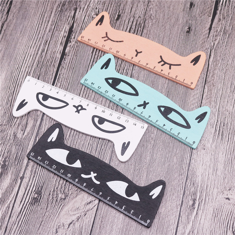 4 Pcs Mix Cartoon 15cm Ruler Big Face Cat Student Stationery Ruler Wooden Student Feet Student Stationery Office Stationery