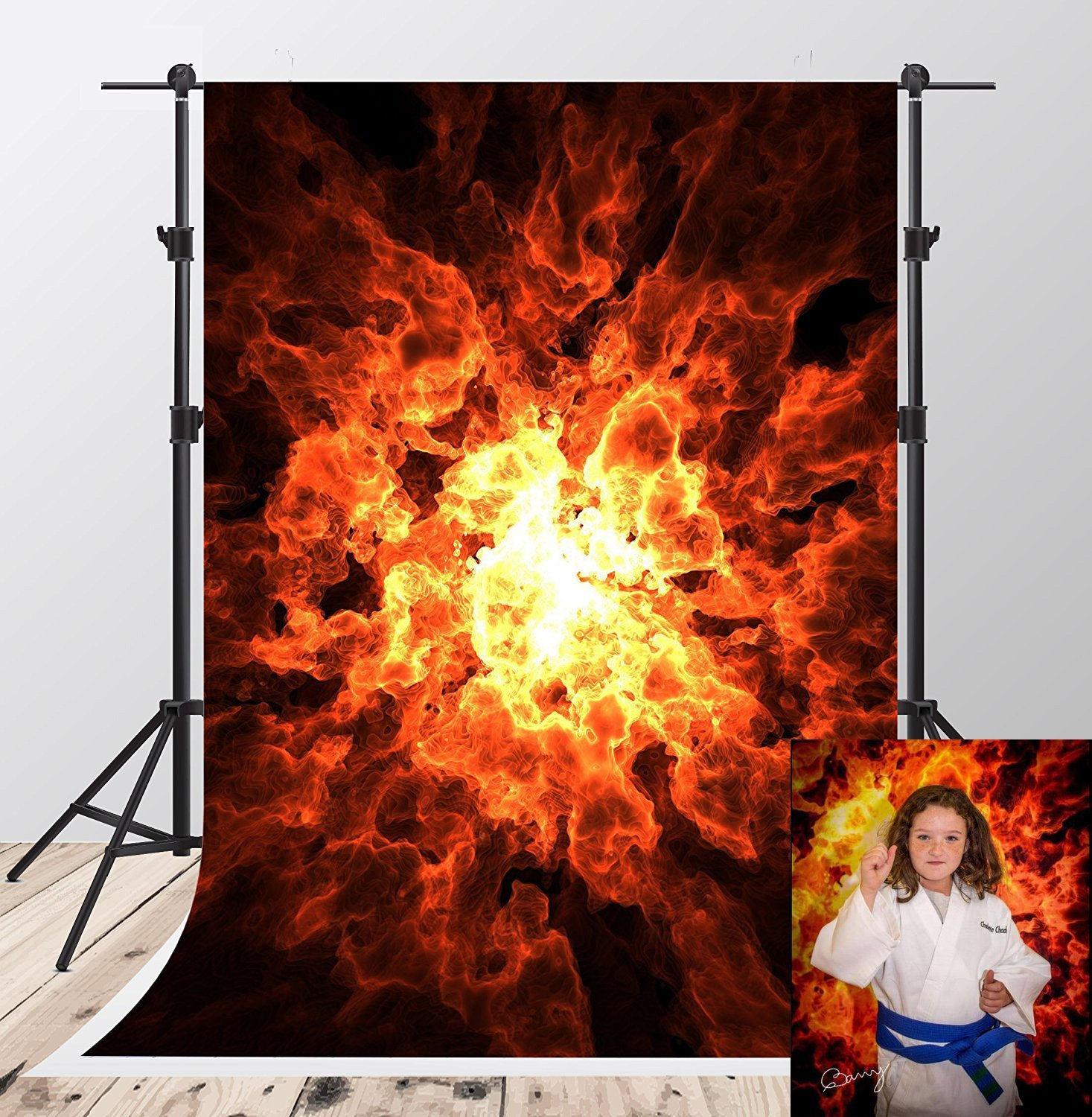 hell fireball explosion black dancing Flame backdrops Vinyl cloth High quality Computer print wall photo studio background
