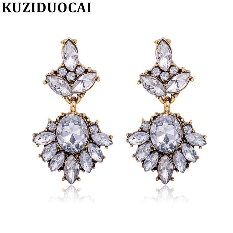 Kuziduocai New Fashion Jewelry Bohe Retro Bronze Transparent Crystal Droplets Leaves Gift Stud Earrings For Women Brincos A-68