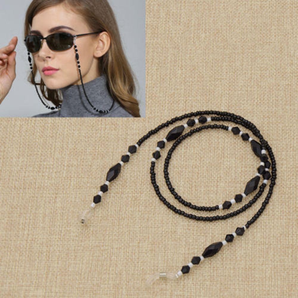 Women High Grade Glass & Acrylic Black Beads Eyeglass Chains Eyewear Cord Holder Neck Strap Reading Glasses Rope CZL8353