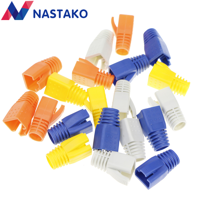 NASTAKO Colorful Cat7 RJ45 Connector Caps Cat 7 Plugs Network Ethernet Cable Strain Relief Cap RJ45 Connector Covers 8.5mm