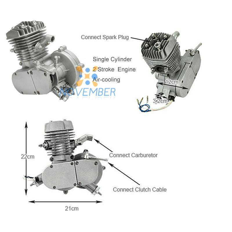 80cc 2 stroke engine single cylinder for motorized bicycle bike v frame  mountain bike road bike cruiser chopper gasoline engine-in engines from  automobiles