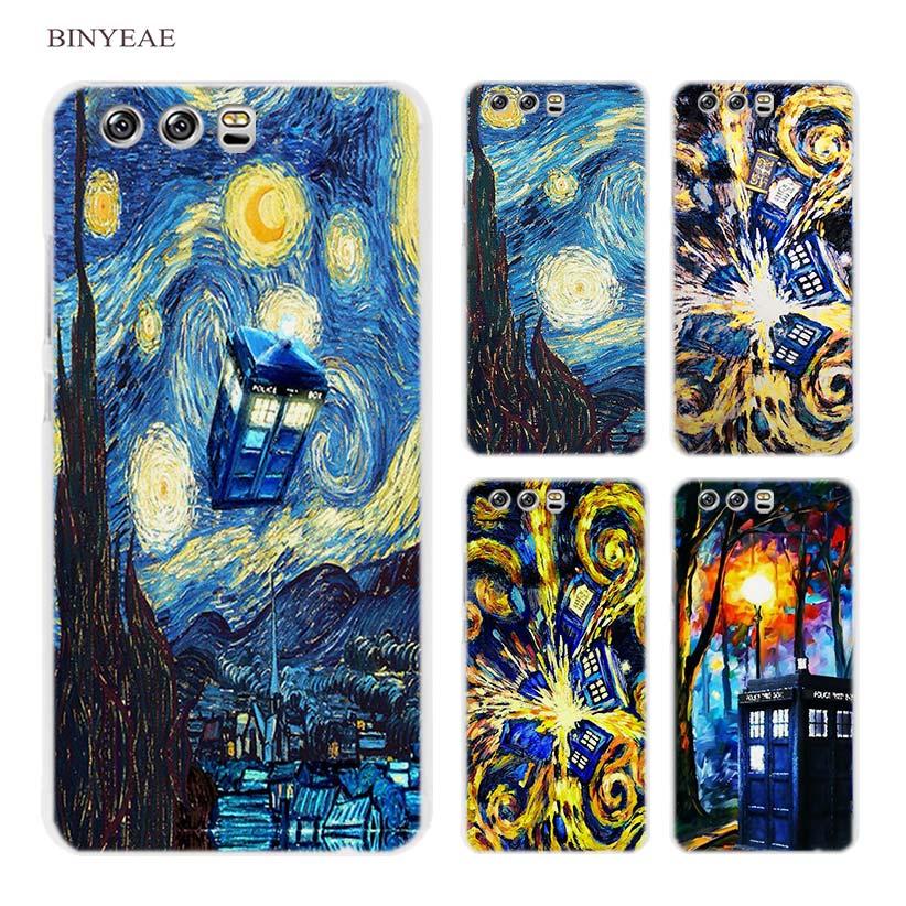 BINYEAE Van Gogh Tardis Fest Transparent Fall Deckung Coque für Huawei P8...
