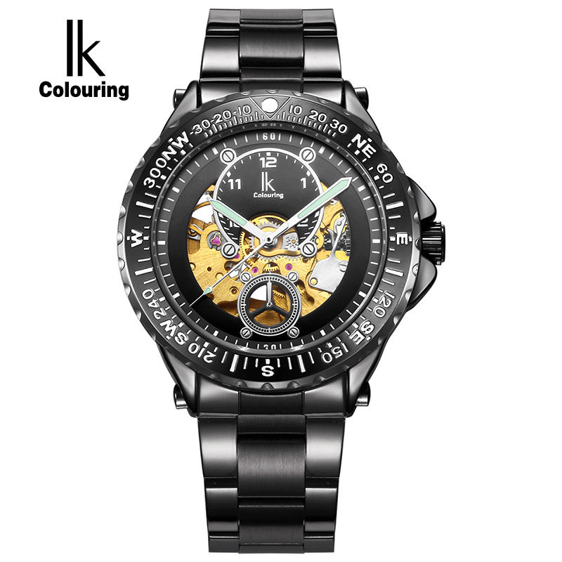 IK Colouring Luminous Gold Skeleton Automatic Mechanical Watches Men Luxury Brand Stainless Steel Military Watch Casual relogio ik luxury fashion casual stainless steel men automatic mechanical watch skeleton watch for men s dress wristwatch free ship