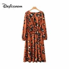 1cdf346fd83 2019 women leopard print pleated midi dress animal pattern long sleeve  split female fashion casual dresses