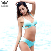 NAKIAEOI Sexy Criss Cross Bikini Women Swimsuit 2017 New Push Up Swimwear Bandage Brazilian Bikini Set