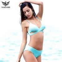 NAKIAEOI Sexy Criss Cross Bikini Women Swimsuit 2017 New Push Up Swimwear Bandage Brazilian Bikini Set