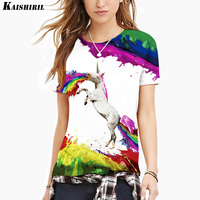 Summer 3D Unicorn Harajuku T Shirt Colorful Kawaii Horse Printed T Shirt Women Tops Plus Size
