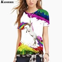Summer 3D Unicorn Harajuku T Shirt Colorful Kawaii Horse Printed T Shirt Women Tops Plus Size