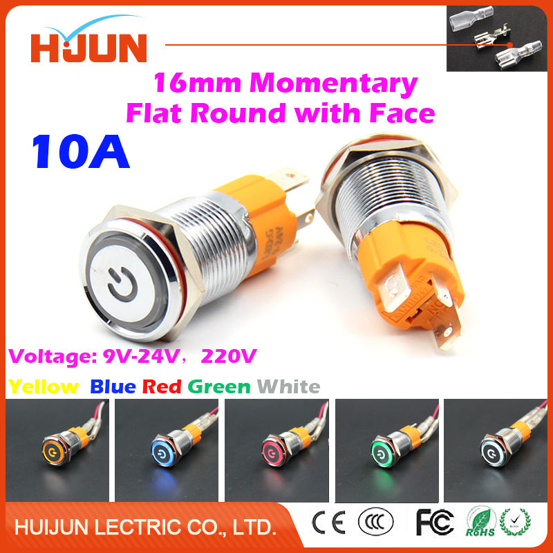 1pcs 16mm 10A Momentary Push Button Switch with Face Waterproof Flat Round Stainless Steel Metal  LED Light Car Horn Auto Reset metal push button switch with light 16mm flat head self reset momentary 5v 12v 24v 220v push button waterproof led metal switch
