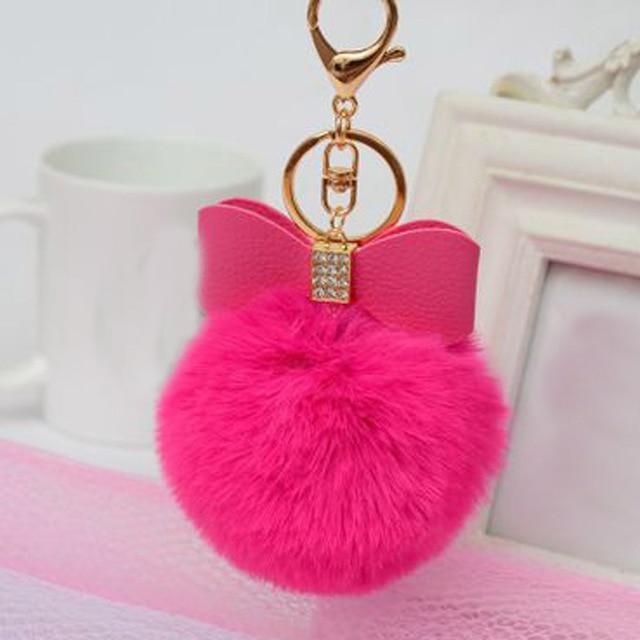 Fluffy Pompon Fur Ball Key Chain Rabbit Ear Keychain Woman Bag Charms Keyring Pom Pom Car Pendant Pompom Holder Jewelry