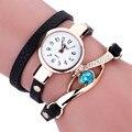 Duoya relógios das senhoras da forma gemstone olho de relógios de luxo mulheres pulseira de ouro relógio feminino relógios de pulso de quartzo montre feida