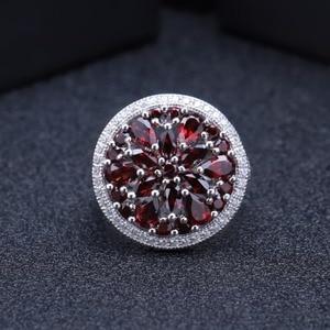 Image 2 - Gems BALLET 3.88Ct 라운드 천연 붉은 가닛 보석 반지 여성을위한 925 스털링 실버 빈티지 칵테일 반지 파인 쥬얼리