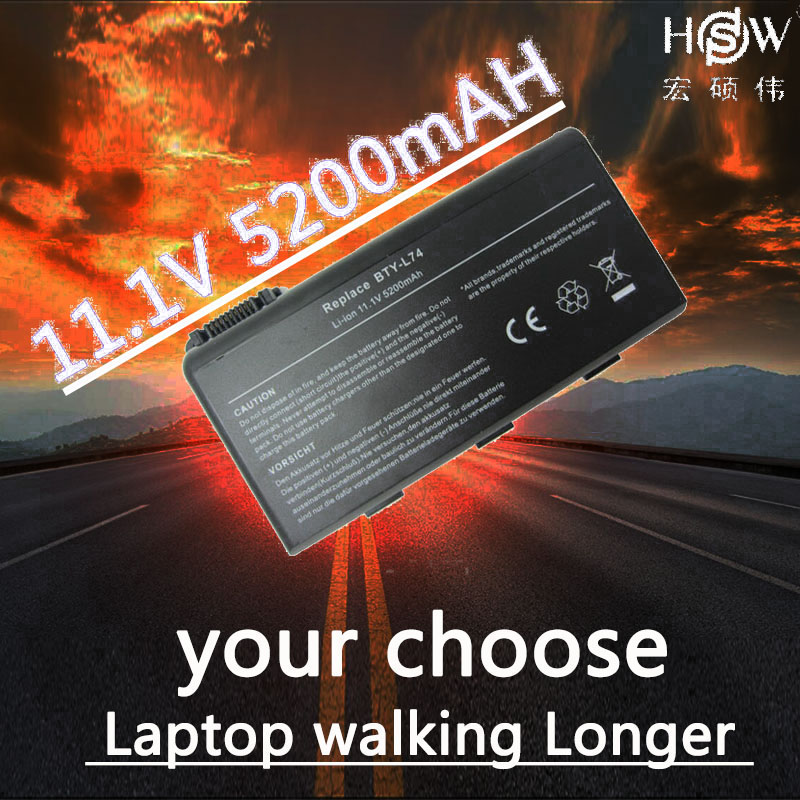 HSW 5200mAh laptop Battery For MSI BTY-L74 BTY-L75 A5000 A6000 A6203 A6205 A7200 CR600 CR610 CR610X CR620 CR630 CR700 CX600 11 1v 9 cells bty l75 bty l74 laptop battery for msi cx600x cr610 cr620 cr700